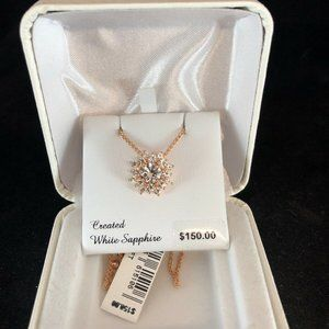 Rose Gold White Sapphire Cluster necklace $150